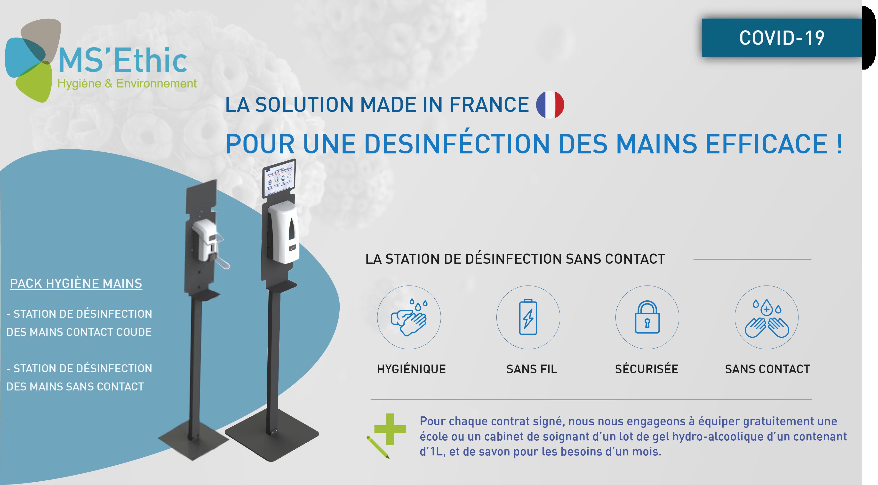 Pack Hygiène Mains : Stations mobiles, sans contact ou contact sécurisé (coude)