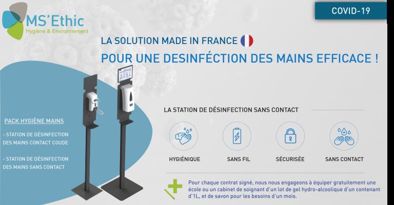 Stations mobiles, sans contact ou contact sécurisé (coude)
